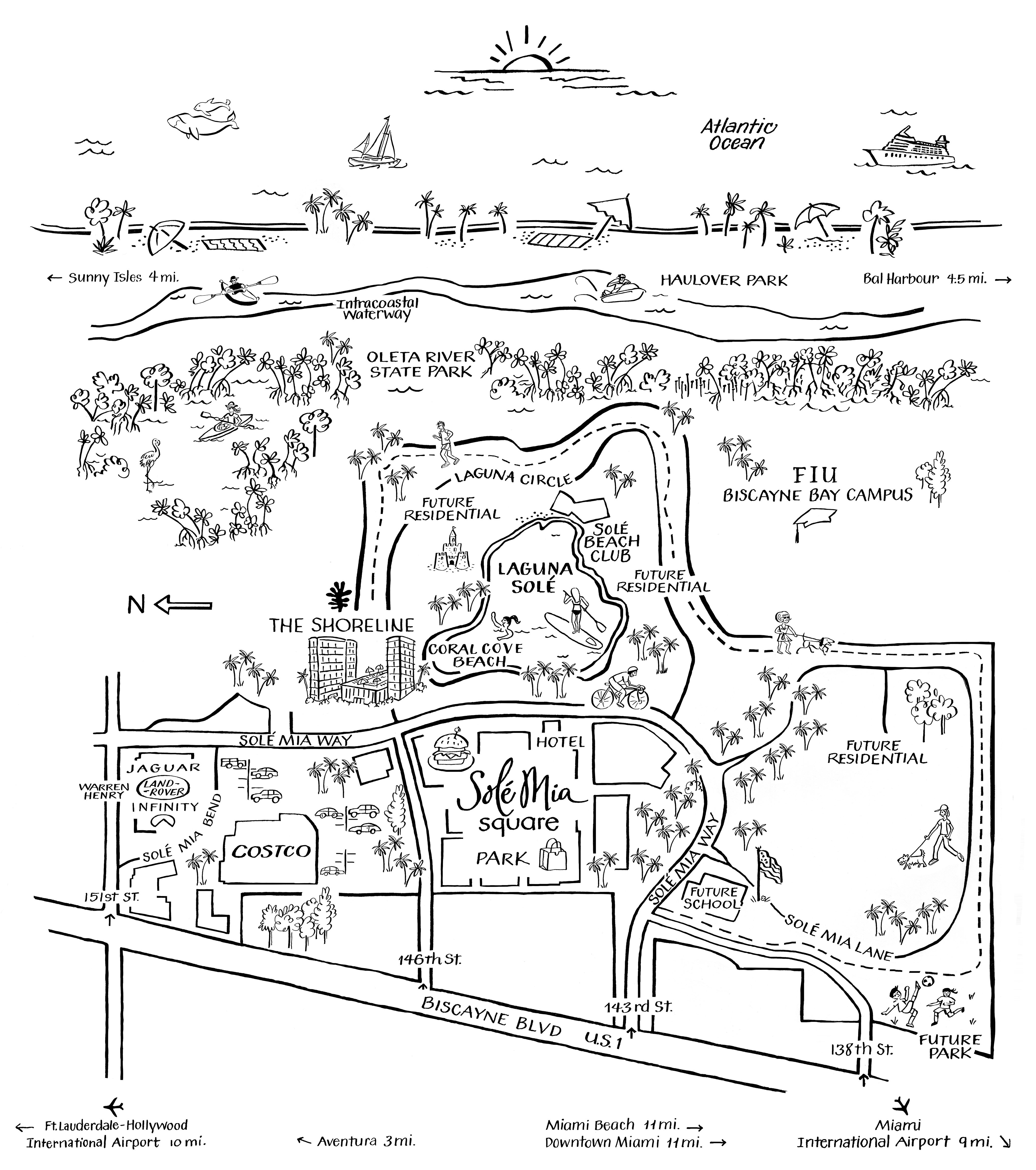 Map Illustration of the Shoreline at Solé Mia Apartments and the nearby Activities in North Miami